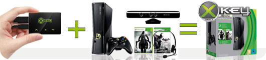 xbox 360 slim 250go kinect xkey v3. Black Bedroom Furniture Sets. Home Design Ideas